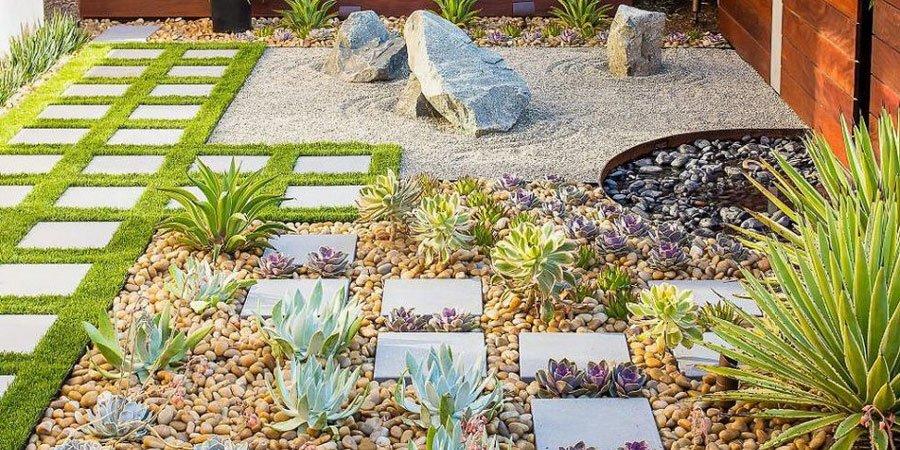 jardines decorados con piedras